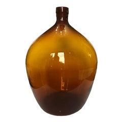Amber Orange French Handblown Demijohn Bottle Wine Jug 16th-18th Century