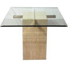 Artedi Italian Travertine Occasional Table Satin Brass Beveled Glass, 1980s