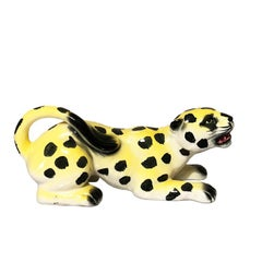Mid-Century Modern Yellow Spotted Ceramic Leopard or Cheetah