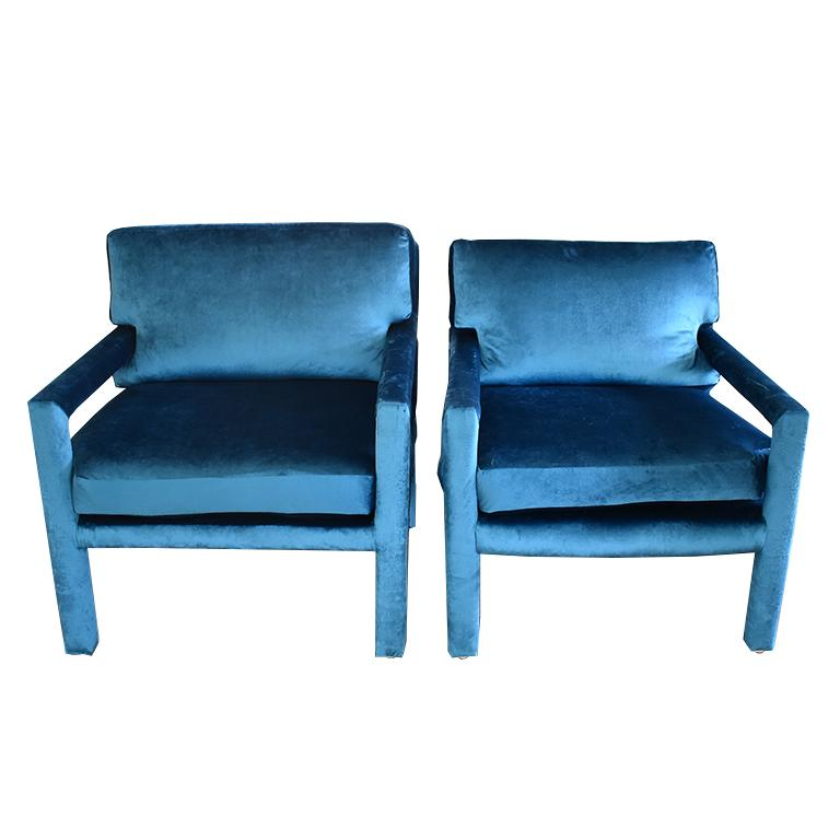 Midcentury Blue Velvet Milo Baughman Style Parsons Open Arm Club Chairs
