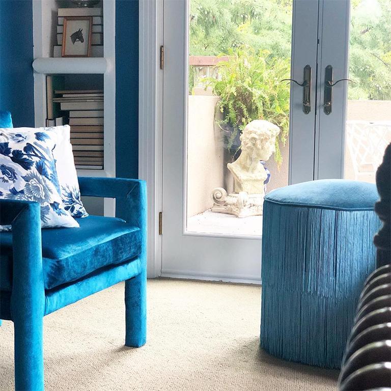 Metal Midcentury Blue Velvet Milo Baughman Style Parsons Open Arm Club Chairs For Sale