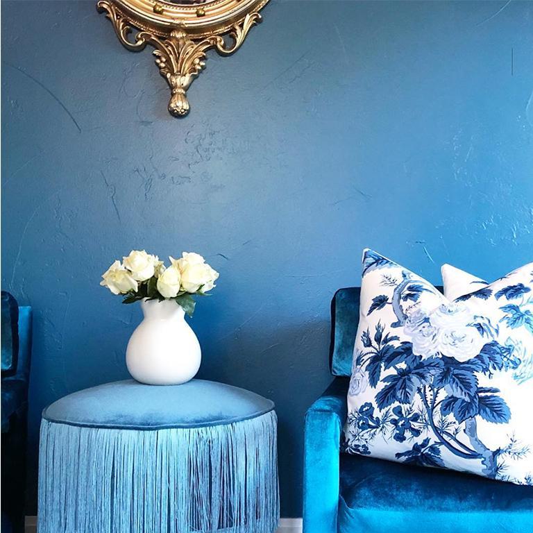 Midcentury Blue Velvet Milo Baughman Style Parsons Open Arm Club Chairs For Sale 1