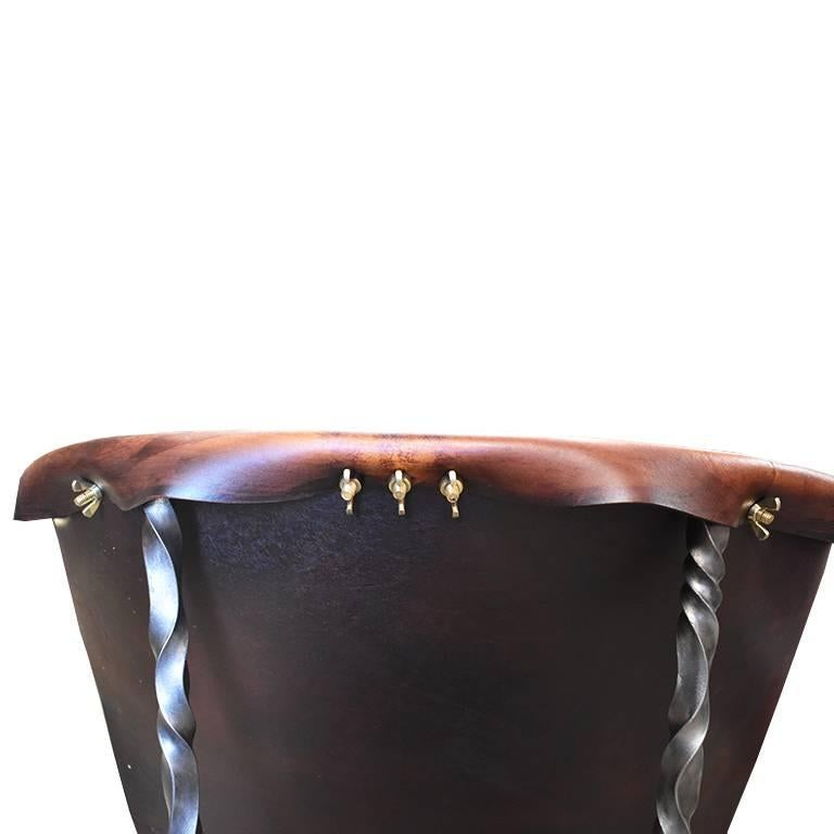 Other Custom Steel and Leather Hand-Forged Black and Brown Handmade Sling Chairs For Sale