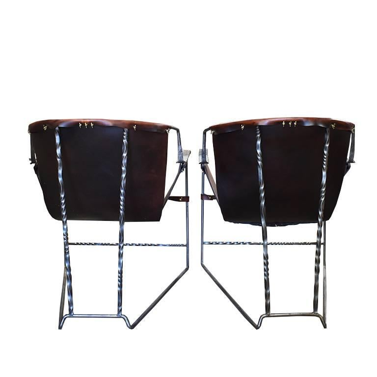 Custom Steel and Leather Hand-Forged Black and Brown Handmade Sling Chairs In Excellent Condition For Sale In Oklahoma City, OK