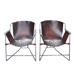 Custom Steel and Leather Hand-Forged Black and Brown Handmade Sling Chairs