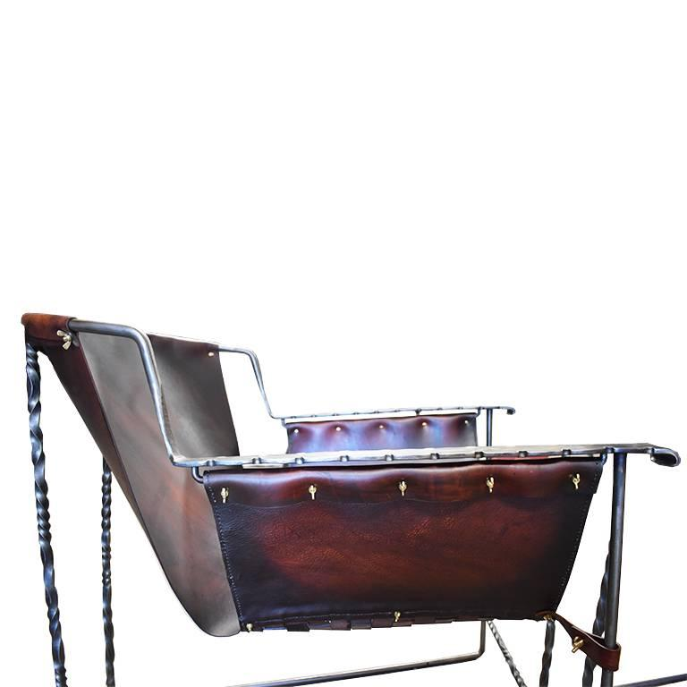 Custom Steel and Leather Hand-Forged Black and Brown Handmade Sling Chairs For Sale 4
