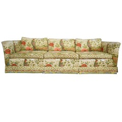 Ethan Allen Floral Chinoiserie Down Filled Peacock Sofa with Low Back Deep Seats