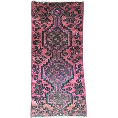 Vintage Pink Persian Karache Serapi Heriz Geometric Green and Blue Runner carpet