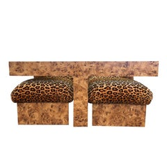 Burl Wood Cocktail Table with Glass Top 4 Ottoman Soufflé Poufs in Animal Print