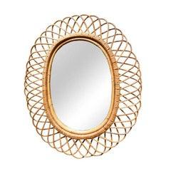 Mid-Century Modern Rosenthal Netter Rattan Flower Burst Mirror Made in Italy