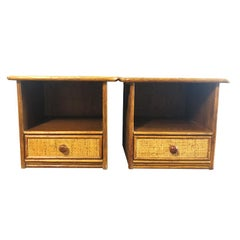 Pair Bamboo and Cane Bentwood Nightstands in the Style of Paul Frankl Glass Top