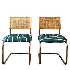 Marcel Breuer Cantilever Blue Wearstler Channel Print Cane Back Chairs a Pair