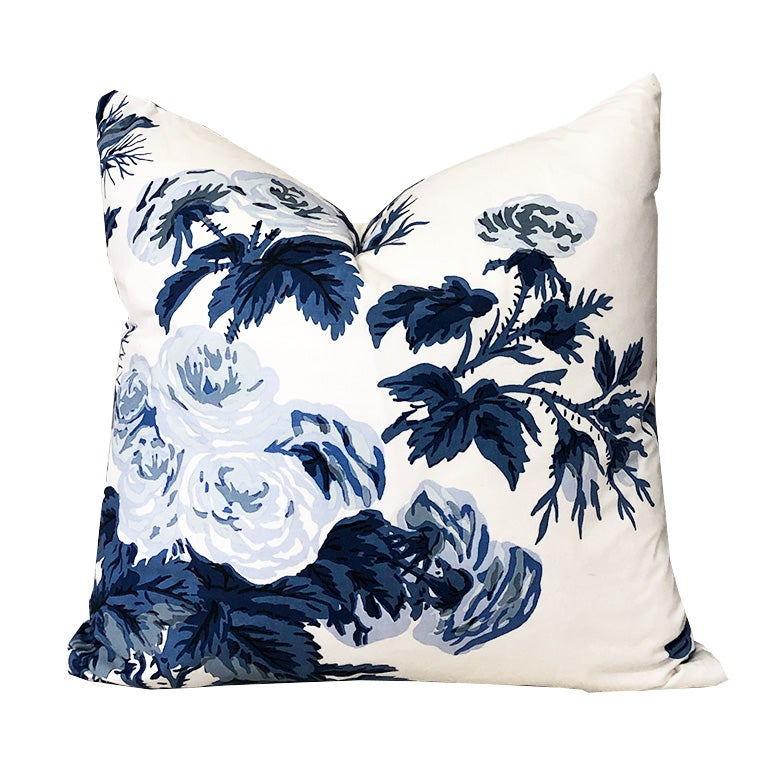 Blue Floral Schumacher Pyne Hollyhock Down Filled Pillow with Knife Edge 15 x 15