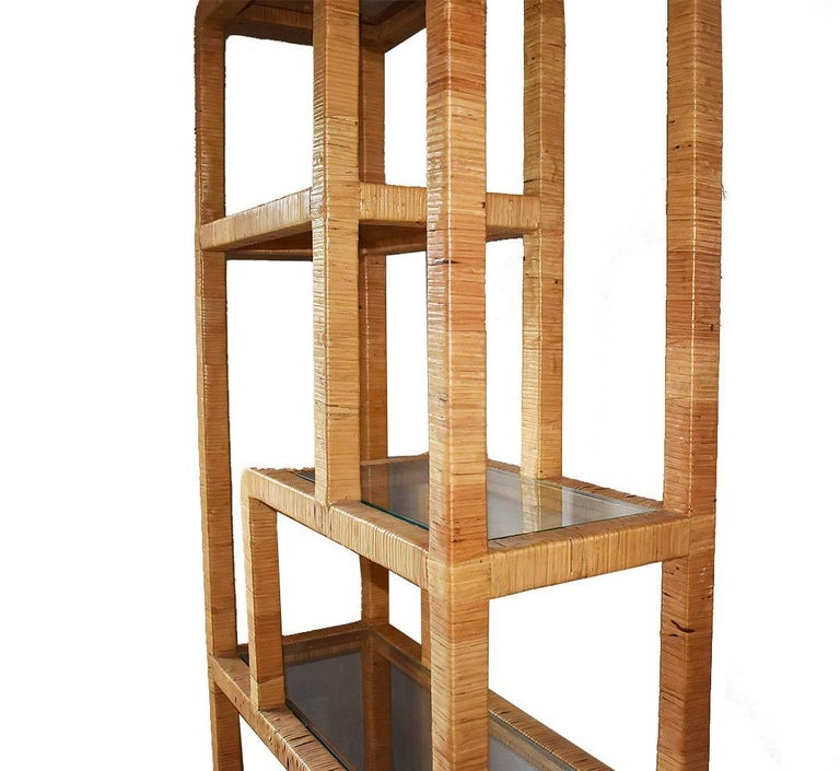 Unknown Mid-Century Modern Rattan Wrapped Bookcase shelves in the Style of Milo Baughman For Sale