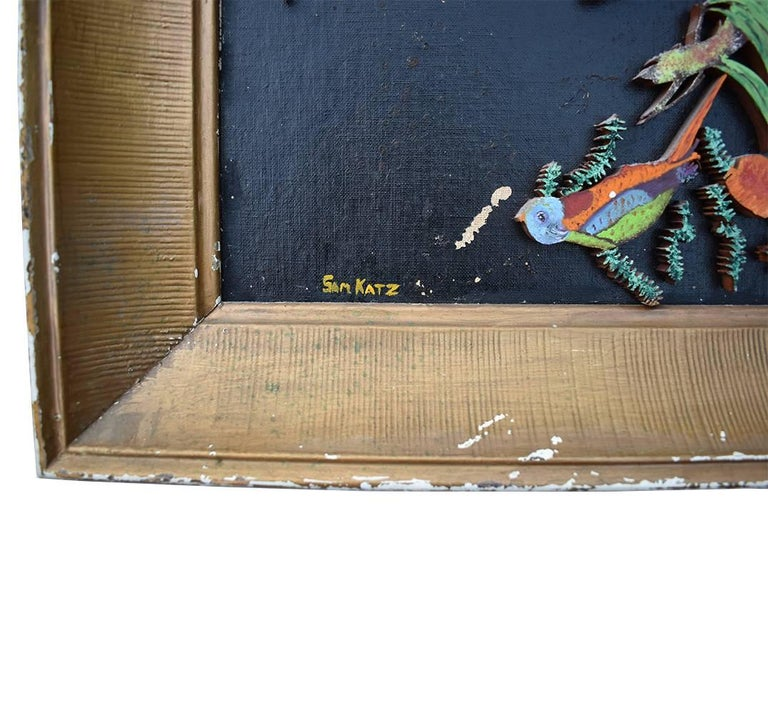 Mid-Century Modern Parrot wooden multi color relief with gilt frame signed Sam Katz For Sale