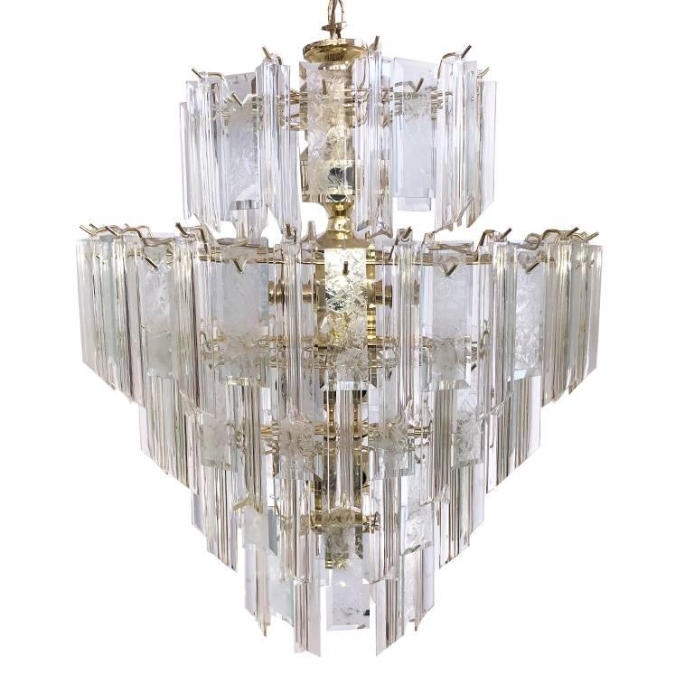Mid Century 5 tier lucite brass Waterfall Chandelier hardwired in style of Camer