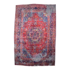 Persian Heriz Wool Rug 6' x 9' with red and blue geometric details
