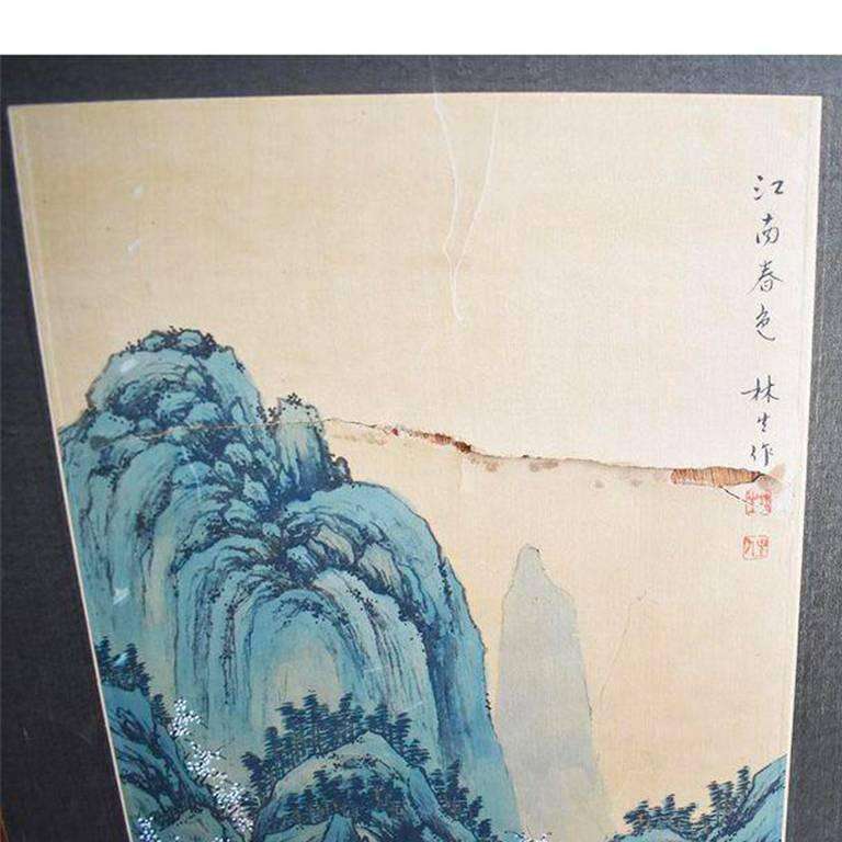 f17dd8d7c Taiwanese Asian Wood Panel Paintings Diptych Brass Hardware Flora and Fauna  Scene Chinese For Sale