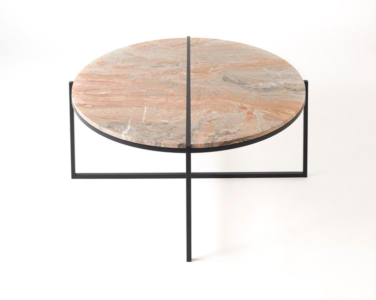 Contemporary Coffee Table, Orobico Marble, Minimalist, Modern, Unique, Round For Sale 5