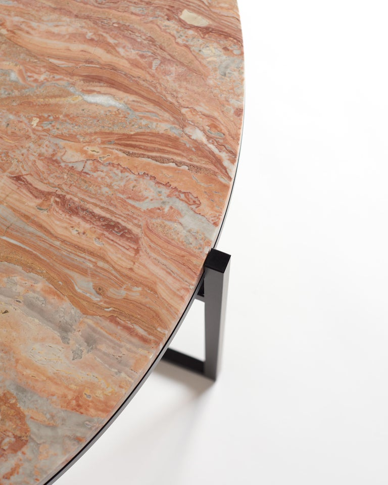 Contemporary Coffee Table, Orobico Marble, Minimalist, Modern, Unique, Round For Sale 3