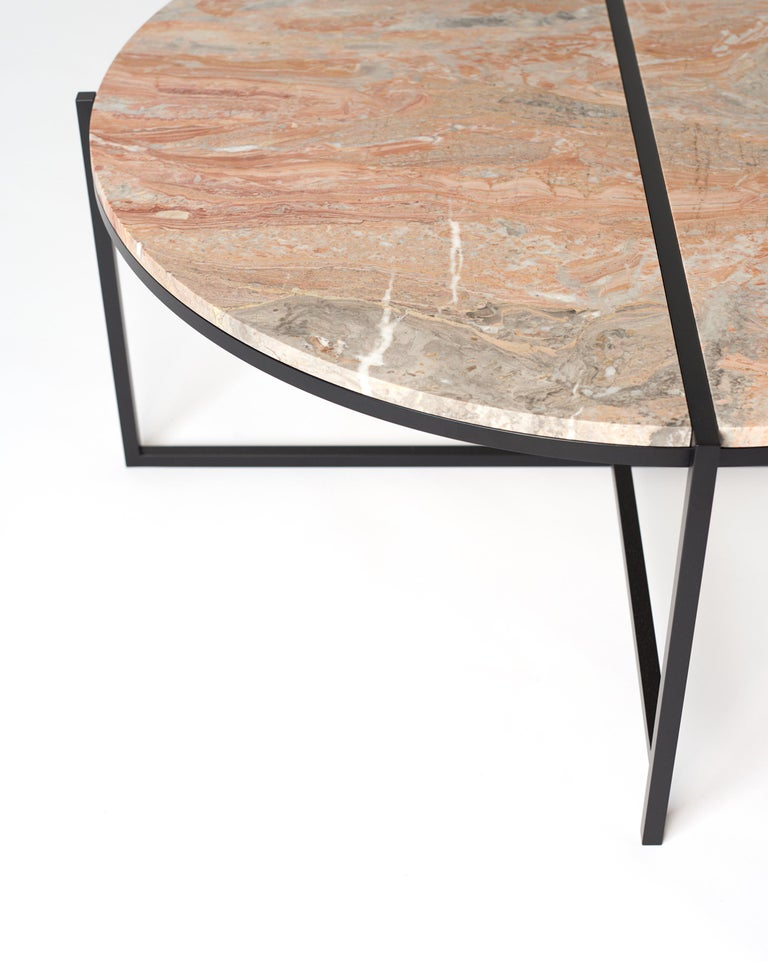 Contemporary Coffee Table, Orobico Marble, Minimalist, Modern, Unique, Round For Sale 4