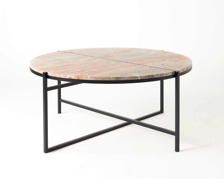 Stainless Steel Contemporary Coffee Table, Orobico Marble, Minimalist, Modern, Unique, Round For Sale