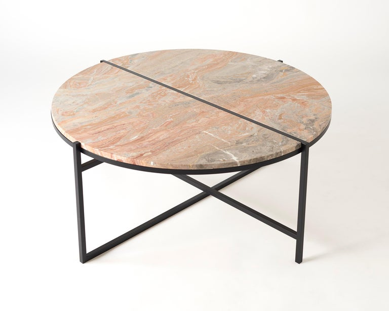 Contemporary Coffee Table, Orobico Marble, Minimalist, Modern, Unique, Round For Sale 7