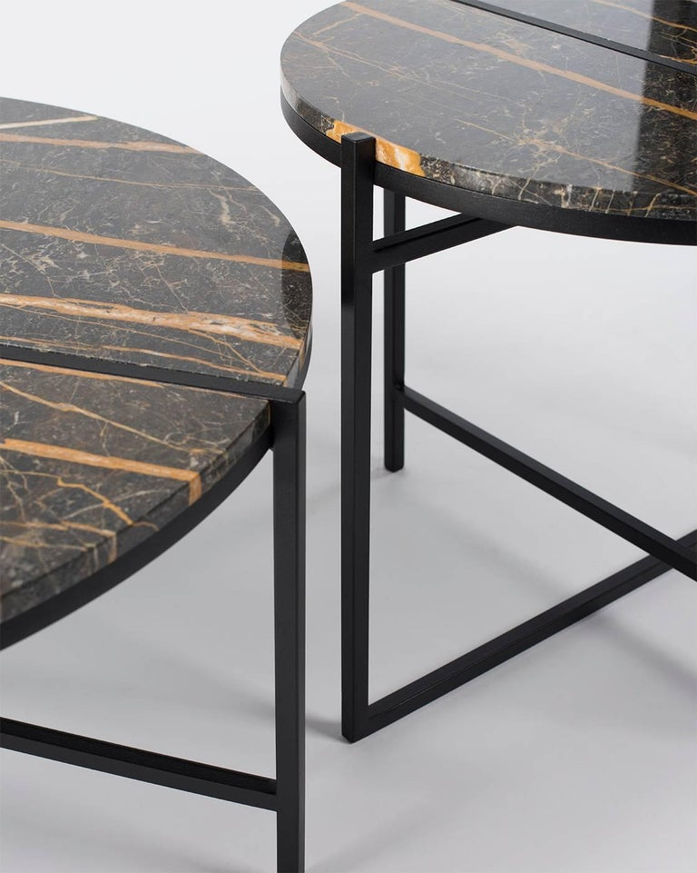 Contemporary Marble Side Table, Handcrafted, Minimalist, Modern, Round  In New Condition For Sale In Zurich, CH