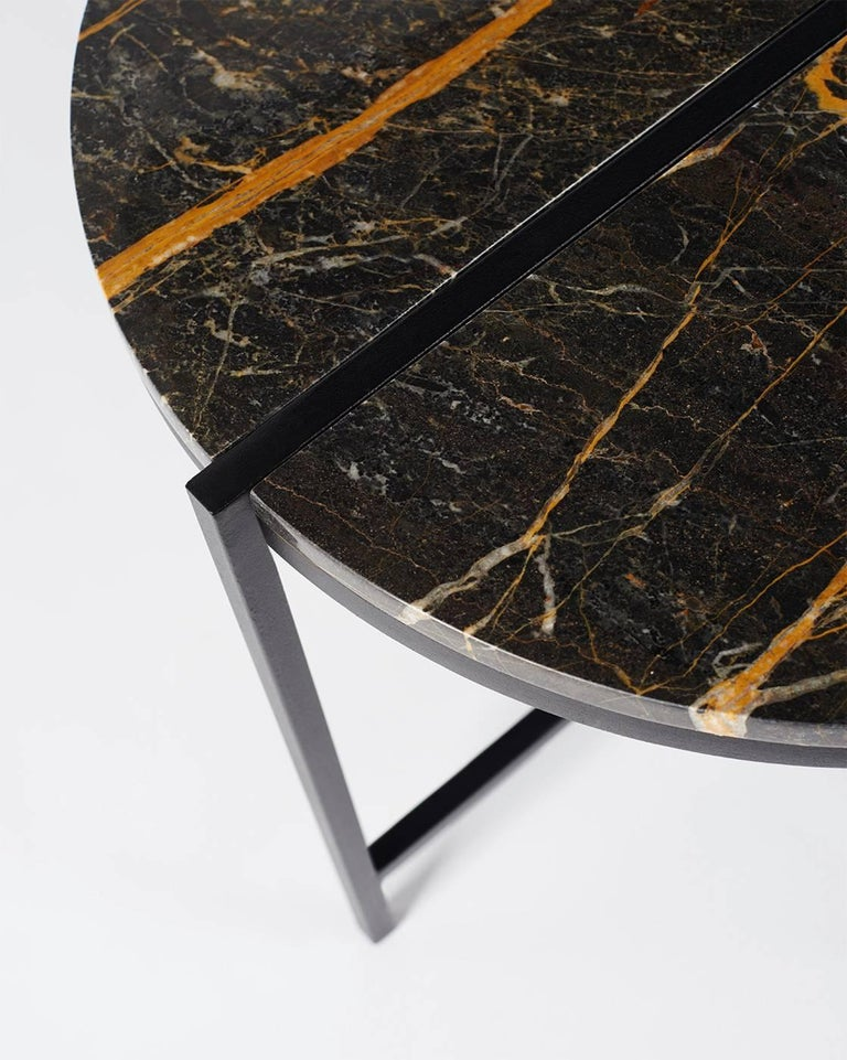 Contemporary Marble Side Table, Handcrafted, Minimalist, Modern, Round  For Sale 2