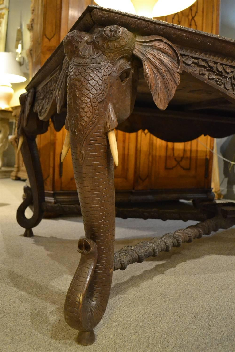 This Late Nineteenth Century Piece Is Intricately Carved In Teak With Top  Carvings And Details On