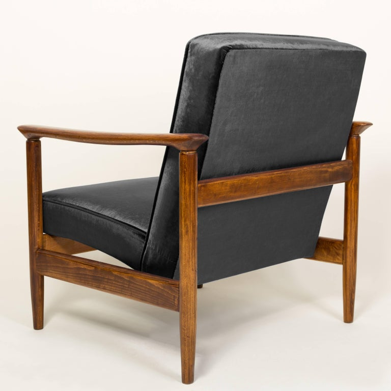 Black Velvet Armchair, Designed by Edmund Homa, 1960s In Excellent Condition For Sale In Warsaw, PL