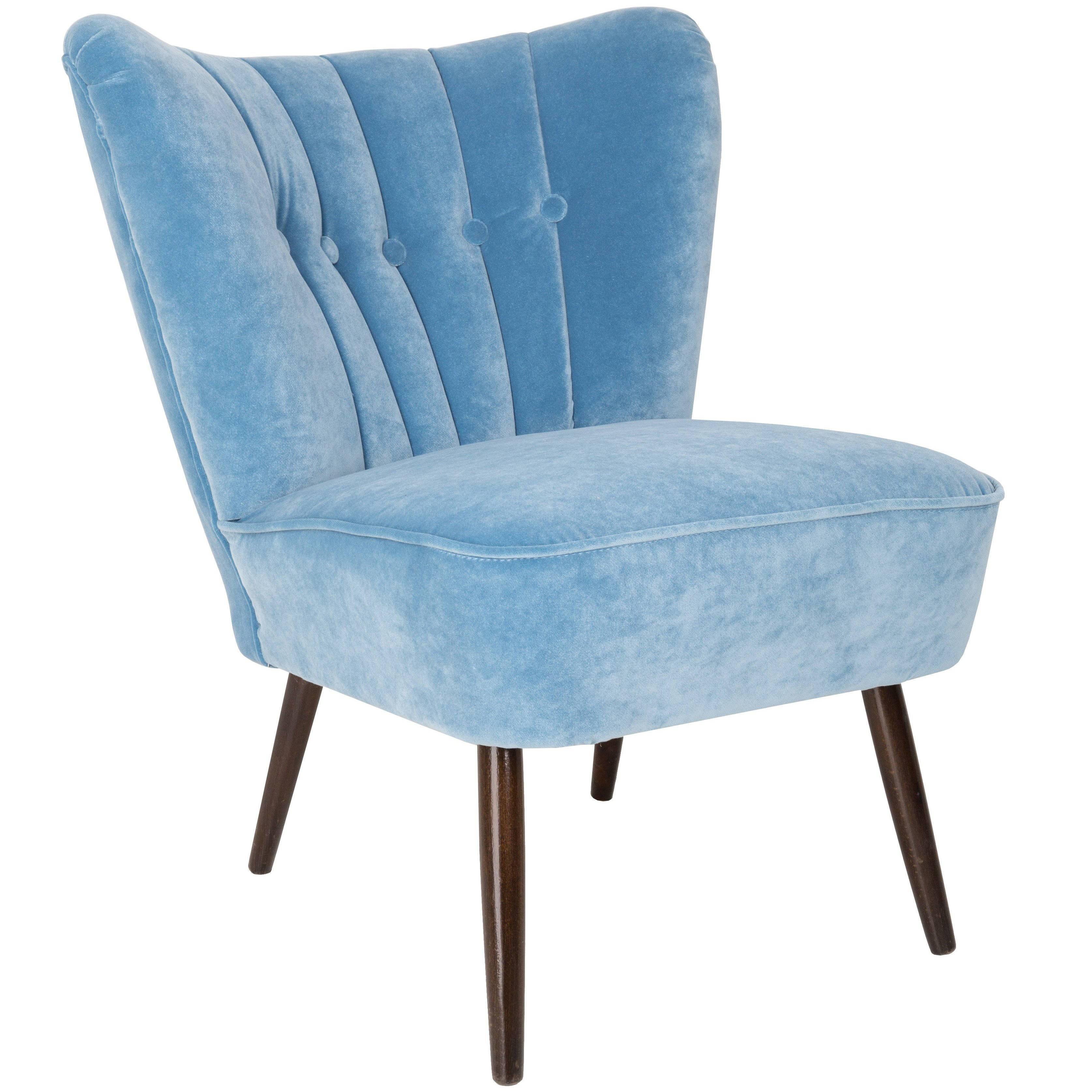 Midcentury Baby Blue Velvet Armchair, Germany, 1960s For Sale
