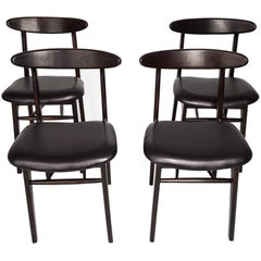 Set of Four Vintage Leather Dining Chairs, 1960s