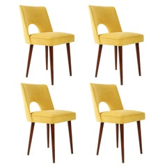 "Set of Four Yellow ""Shell"" Chairs, Poland, 1960s"