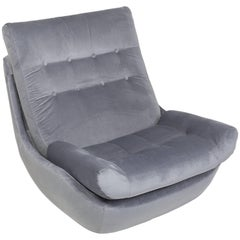 20th Century Vintage Gray Velvet Giant Atlantis Armchair, 1960s