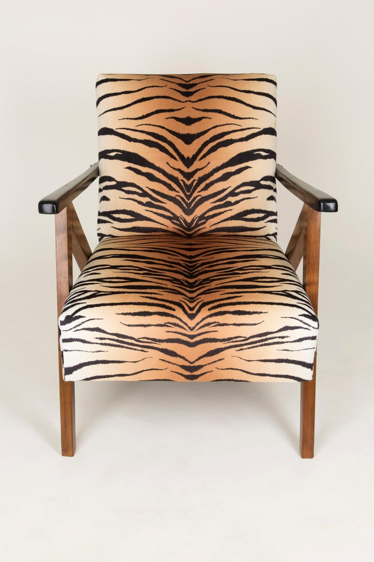Velvet Set of Two Mid-Century Modern Tiger Print Armchairs, 1960s, Germany For Sale
