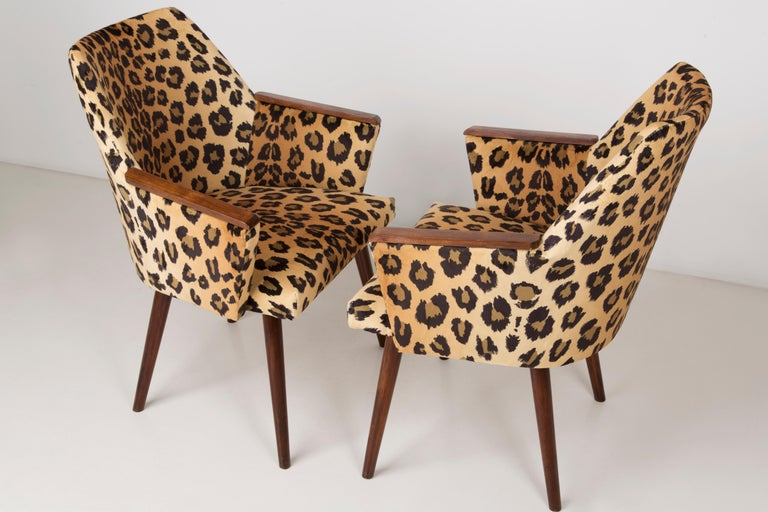 20th Century Set of Two Mid-Century Modern Leopard Print Chairs, 1960s, Germany For Sale