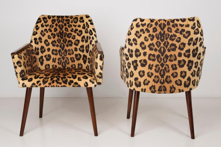 Set Of Two Mid Century Modern Leopard Print Chairs 1960s Germany