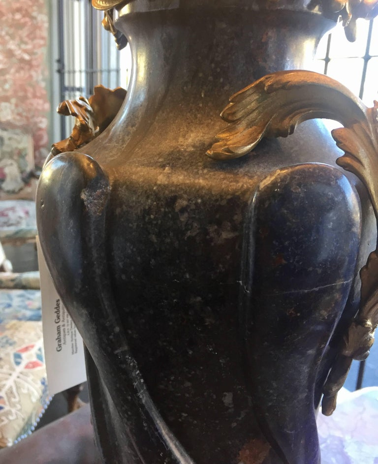 Pair of French 18th Century Lapis Lazuli Bronze Mounted Cassolettes as Lamps In Good Condition For Sale In Armadale, Victoria