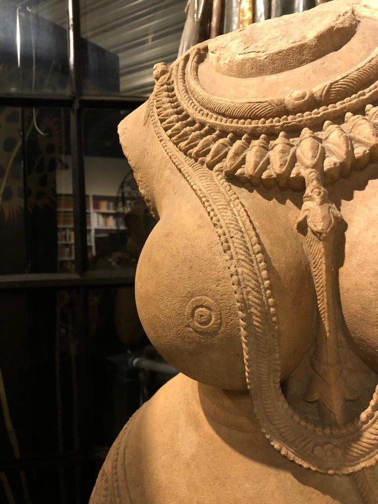 Indian Late 12th Early 13th Century Rajasthani Sandstone Torso of Surasundari For Sale