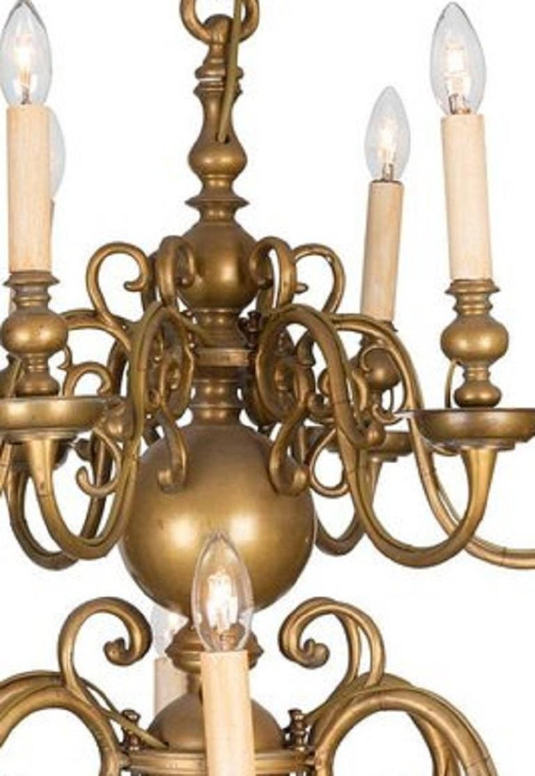 An 18th Century Twelve-Light Dutch Brass Two-Tier Chandelier In Good Condition For Sale In Armadale, Victoria
