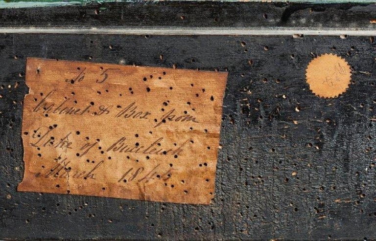 With label detail inscribed 'No.5/Cabinet & Box from/ Duke of Buccleuch/ March 1845' The handwritten inventory labels dating to 1845 are those of Walter, 5th Duke of Buccleuch and the 7th Duke of Queensbury (d.1884). The Duke was heir to the