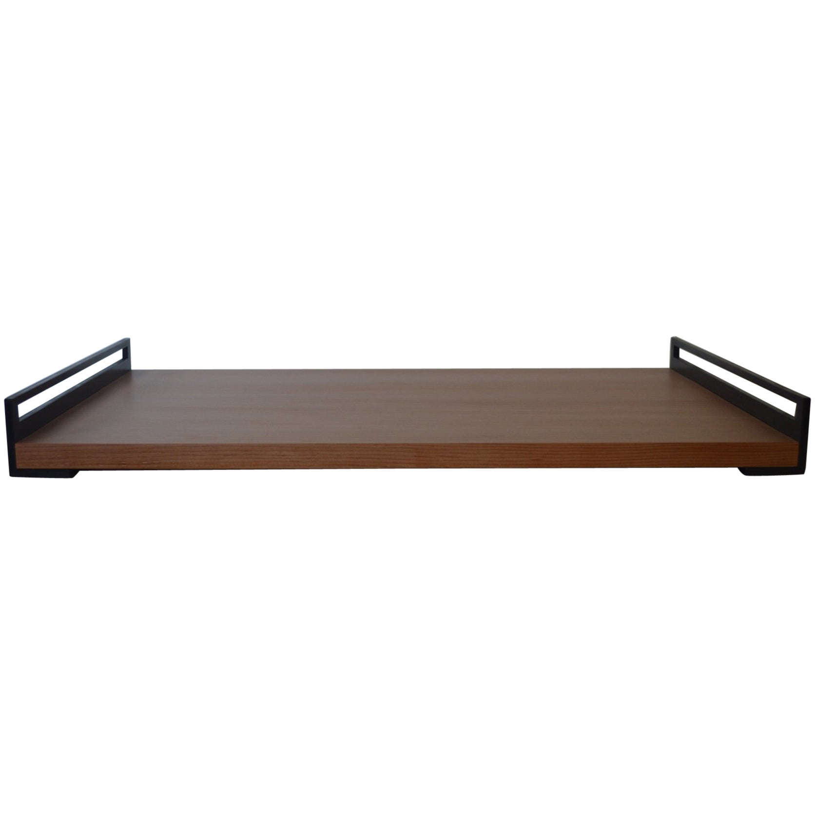 Contemporary Minimalist Blackened Steel and Wood Service Tray-IN STOCK