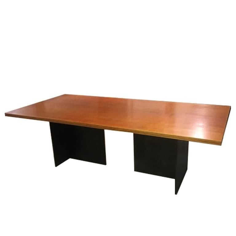 Contemporary Minimalist Blackened Steel and Birch Dining Table-IN STOCK