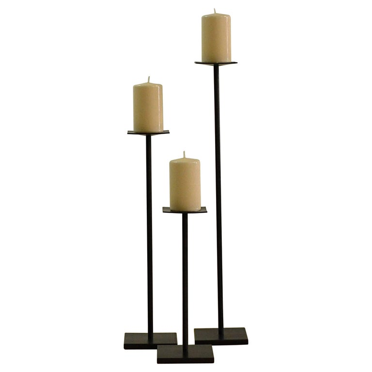 Contemporary Minimalist Blackened Steel Candleholder Set-IN STOCK