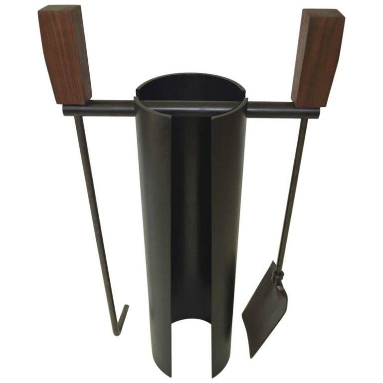 Contemporary Minimalist Blackened Steel Fire Tools Set by Scott Gordon For Sale