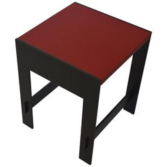 Contemporary Minimalist Blackened Steel and Stone End or Side Table-IN STOCK