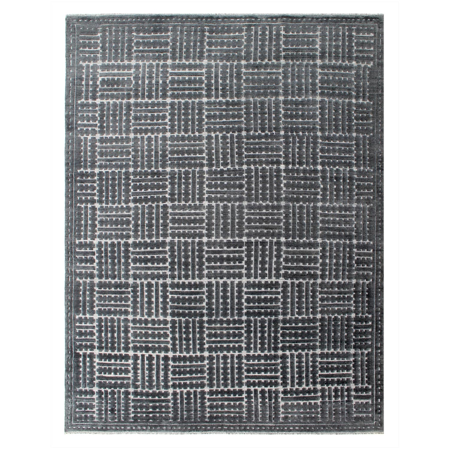 Odessa Charcoal Gray and Cream Geometric Contemporary Hand-Knotted Rug