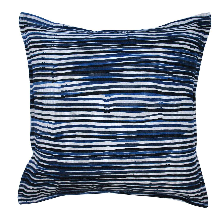 Midnight Stripe on Wheat Cotton Linen Pillow