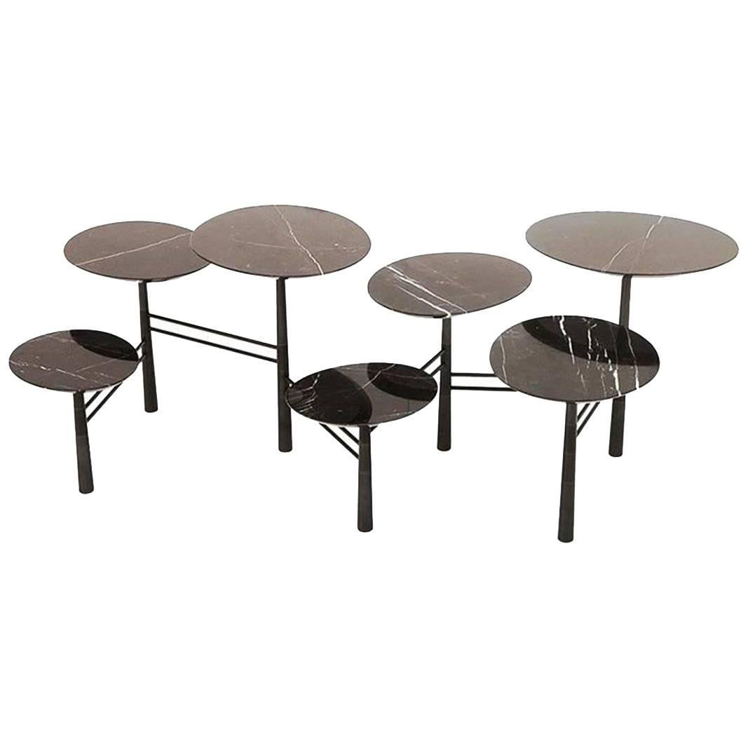Nada Debs Modern Pebble Low Coffee Table, Black Marble, Blackened Steel  Base For Sale